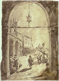 Venetian Scene, undated by Francesco Guardi | Painting Reproduction