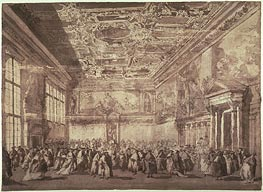 The Doge of Venice Receiving Ambassadors in the Sala dei Collegio, undated by Francesco Guardi | Painting Reproduction