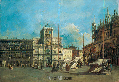 St. Mark's Square in Venice with the Clocktower, c.1770/75 | Francesco Guardi | Gemälde Reproduktion