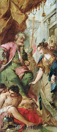 Sophronia Asking the Saracen King Aladine to Release the Christian Prisoners, c.1760 | Francesco Guardi | Gemälde Reproduktion
