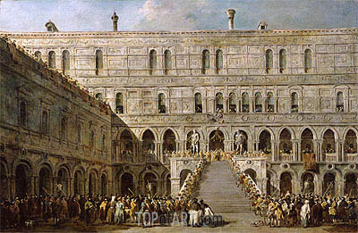 The Coronation of the Doge of Venice on the Scala dei Giganti of the Palazzo Ducale, c.1766/70 | Francesco Guardi | Painting Reproduction