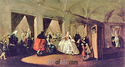 The Parlour of the San Zaccaria Convent, Undated | Francesco Guardi | Painting Reproduction