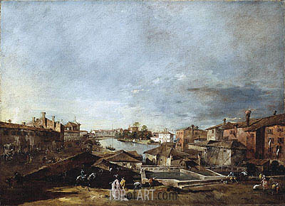 View of Dolo on the Brenta, c.1774/76 | Francesco Guardi | Painting Reproduction