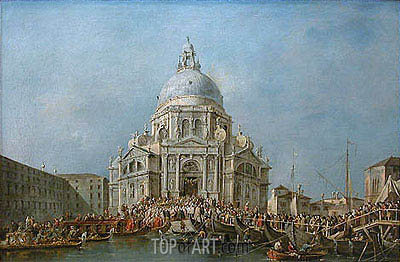 The Doge of Venice Goes to Salute on November 21st, Day of the Commemoration of the End of the Plague of 1630, c.1775/80 | Francesco Guardi | Gemälde Reproduktion