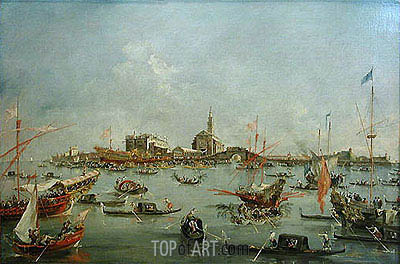 The Doge of Venice in the Bucentaur at San Nicolo di Lido on Ascension Day, c.1775/80 | Francesco Guardi | Painting Reproduction