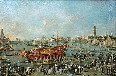 The Bucentaur Departs for the Lido of Venice, on Ascension Day, c.1775/80 | Francesco Guardi | Painting Reproduction