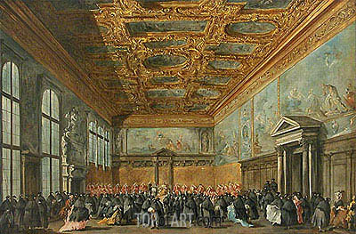 The Doge of Venice Grants an Audience in the Sala del Collegio in the Ducal Palace, c.1775/80 | Francesco Guardi | Gemälde Reproduktion