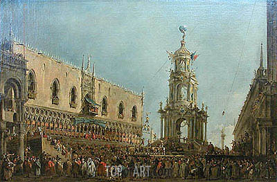 The Doge in the Shrove Tuesday Festival on the Piazzetta, Venice, c.1775/80 | Francesco Guardi | Painting Reproduction