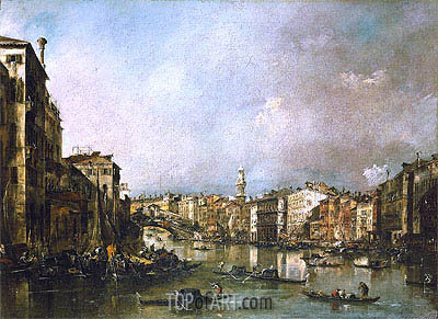 View up the Grand Canal Toward the Rialto, c.1785 | Francesco Guardi | Painting Reproduction