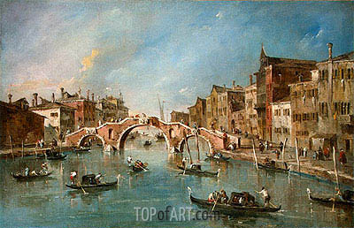 View on the Cannaregio Canal, Venice, c.1775/80   Francesco Guardi   Painting Reproduction