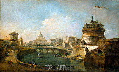Fanciful View of the Castel Sant'Angelo, Rome, c.1785 | Francesco Guardi | Painting Reproduction