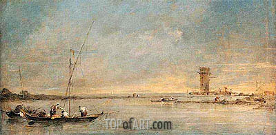 View of the Venetian Lagoon with the Tower of Malghera, c.1770 | Francesco Guardi | Gemälde Reproduktion