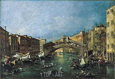 View of the Rialto, Venice from the Grand Canal, c.1780/90 | Francesco Guardi | Gemälde Reproduktion