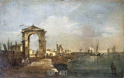 Landscape with a Wharf, Venice, undated | Francesco Guardi | Painting Reproduction