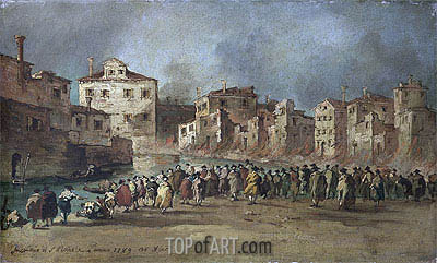 The Fire in the District of San Marcuola, Venice, 28 Novembe   Francesco Guardi   Painting Reproduction