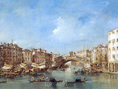 Venice: the Grand Canal with the Riva del Vin and Rialto Bridge, c.1770 | Francesco Guardi | Painting Reproduction