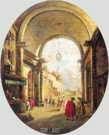 Capriccio with the Archway of the Torre dell'Orologio, a.1780   Francesco Guardi   Painting Reproduction