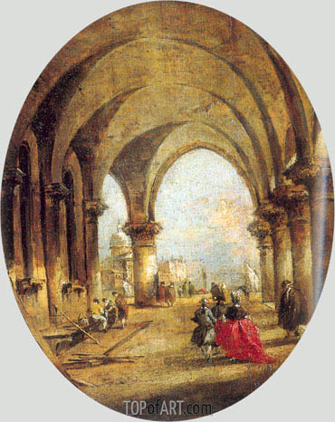 Capriccio with the Arcade of the Doge's Palace and Saint Giorgio Maggiore, c.1780 | Francesco Guardi | Gemälde Reproduktion