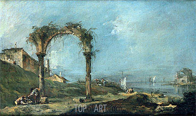 View of a Ruined Arch and the Venice Lagoon, c.1770/75 | Francesco Guardi | Painting Reproduction