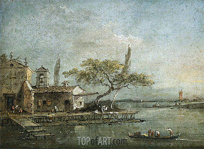 A View of the Island of Anconetta with the Torre di Marghera Beyond, c.1788/90 | Francesco Guardi | Gemälde Reproduktion