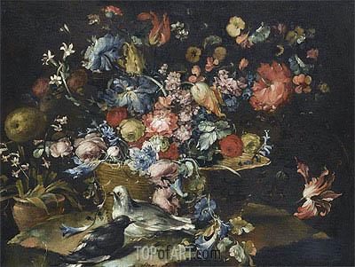 A Still Life with Various Flowers in a Basket, Together with Two Doves in Landscape, undated | Francesco Guardi | Gemälde Reproduktion