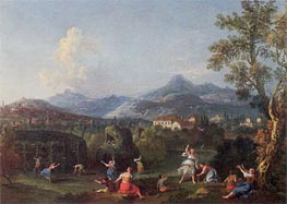 An Italianate Landscape with Women Sporting with a Decoy Bird, undated by Francesco Zuccarelli | Painting Reproduction