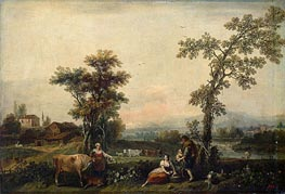 Landscape with a Woman Leading a Cow, c.1740 by Francesco Zuccarelli | Painting Reproduction