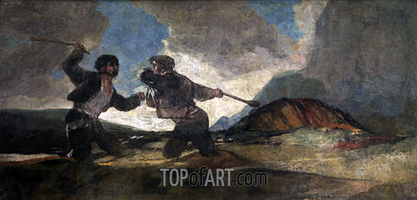Fight to the Death with Clubs, c.1820/23 | Goya | Painting Reproduction