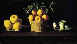 Still Life with Oranges, Lemons and Rose, 1633 von Zurbaran | Gemälde-Reproduktion