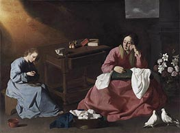 Christ and the Virgin in the House at Nazareth, c.1635/40 von Zurbaran | Gemälde-Reproduktion