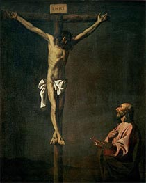 St. Luke as a Painter before Christ on the Cross, c.1660 by Zurbaran | Painting Reproduction