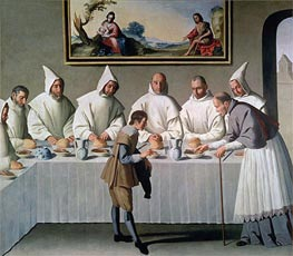 St. Hugh of Cluny in the Refectory of the Carthusians, 1633 by Zurbaran | Painting Reproduction