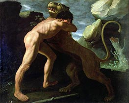 Hercules Fighting with the Nemean Lion, Undated von Zurbaran | Gemälde-Reproduktion