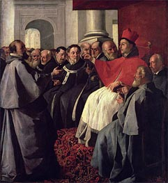 St. Bonaventure at the Council of Lyons in 1274, 1627 von Zurbaran | Gemälde-Reproduktion