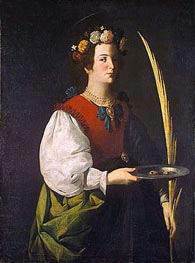 Saint Lucy, c.1625/30 by Zurbaran | Painting Reproduction
