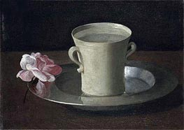 A Cup of Water and a Rose on a Silver Plate, c.1630 by Zurbaran | Painting Reproduction