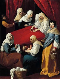 The Birth of the Virgin, c.1627 by Zurbaran | Painting Reproduction