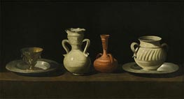 Still Life with Vessels, c.1650 by Zurbaran | Painting Reproduction