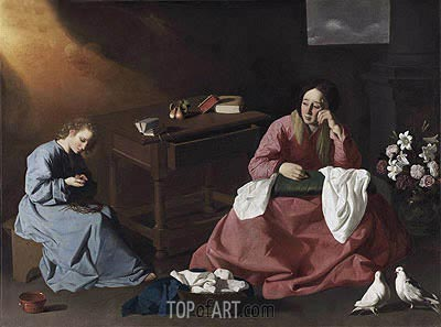Christ and the Virgin in the House at Nazareth, c.1635/40 | Zurbaran | Painting Reproduction