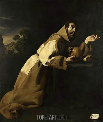 St. Francis in Meditation, 1639 | Zurbaran | Painting Reproduction