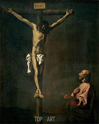 St. Luke as a Painter before Christ on the Cross, c.1660 | Zurbaran | Painting Reproduction