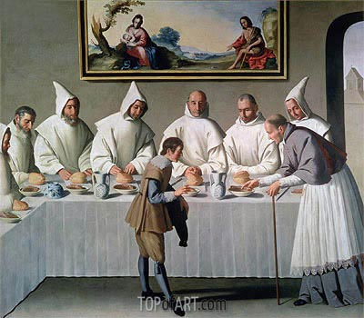 St. Hugh of Cluny in the Refectory of the Carthusians, 1633 | Zurbaran | Gemälde Reproduktion