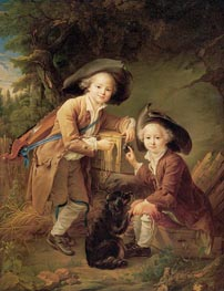 The Comte and Chevalier de Choiseul as Savoyards, 1758 by Francois-Hubert Drouais | Painting Reproduction