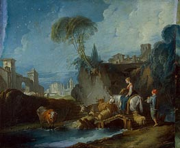 Crossing the Bridge | Boucher | Painting Reproduction