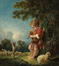 Shepherd Boy Playing Bagpipes | Boucher | Gemälde Reproduktion