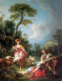A Summer Pastoral, 1749 by Boucher | Painting Reproduction