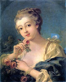 Young Woman with a Bouquet of Roses, undated by Boucher | Painting Reproduction