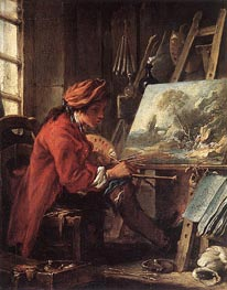 Painter in his Studio, undated by Boucher | Painting Reproduction