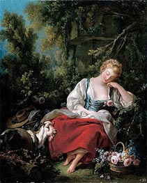 Dreaming Shepherdess, c.1760/63 by Boucher | Painting Reproduction