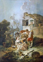 Man Offering Grapes to a Girl | Boucher | Painting Reproduction